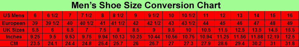 Men's show size conversion chart from American to European
